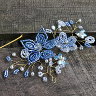 Blue Beaded Flower Bridal Headpiece Bridal Hair Vine