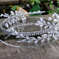 Rhinestone and Freshwater Pearl Bridal Headband Beaded Headband