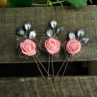 Pink Flowers Bridal Hair Pins Rose Bobby Pins