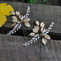 Satin Gold Leaves Bobby Pins Beaded Pearl Hair Pins