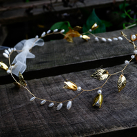 Delicate Gold Beaded Bridal Hair Vine with Pearls and Gold Leaves
