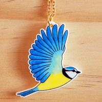 SALE! Blue Tit Charm Necklace