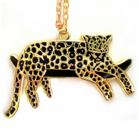 Lazy Leopard Necklace - gold -
