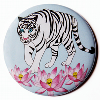 White Tiger & Lotus Pocket Mirror