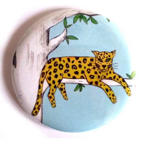 Lazy Leopard Pocket Mirror