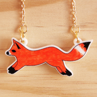 Fox Charm Necklace  in Gold