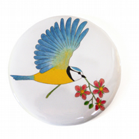 Flying Blue Tit Pocket Mirror