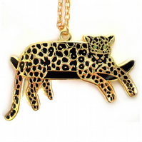 SALE! Gold Lazy Leopard Necklace in Gold