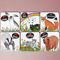 Reserved for 'thisisadrian' I Heart Animal Coaster Set of Four