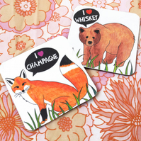 I Heart Whiskey and Champagne Coaster Set of Two