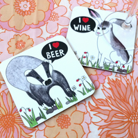 I Heart Beer and Wine Coaster Set of Two