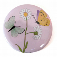 Butterfly and Daisy Pocket Mirror