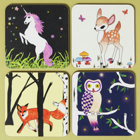 Forest Animals Coaster Set of Four
