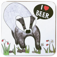 I Love Beer Badger Coaster
