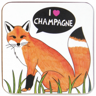 I Love Champagne Fox Coaster