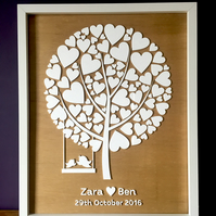 3D Acrylic Wedding Guestbook Tree Framed Artwork (40cm x 50cm)