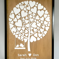 3D Acrylic Wedding Guestbook Tree Framed Artwork (50cm x 70cm)
