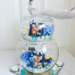 Blue Cream Wedding Double Glass Centre Piece, With Personal Pictures Inside.