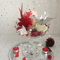 Red And Cream Cocktail Glass Bowl Creation
