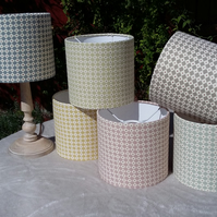 Hand Crafted Bespoke 20cm Drum Lampshades in Lewis & Wood DIAMOND DOT Fabric