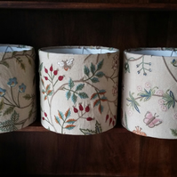 Hand Crafted 20cm Drum Lampshade in Lewis & Wood embroidered fabric THE WINDRUSH
