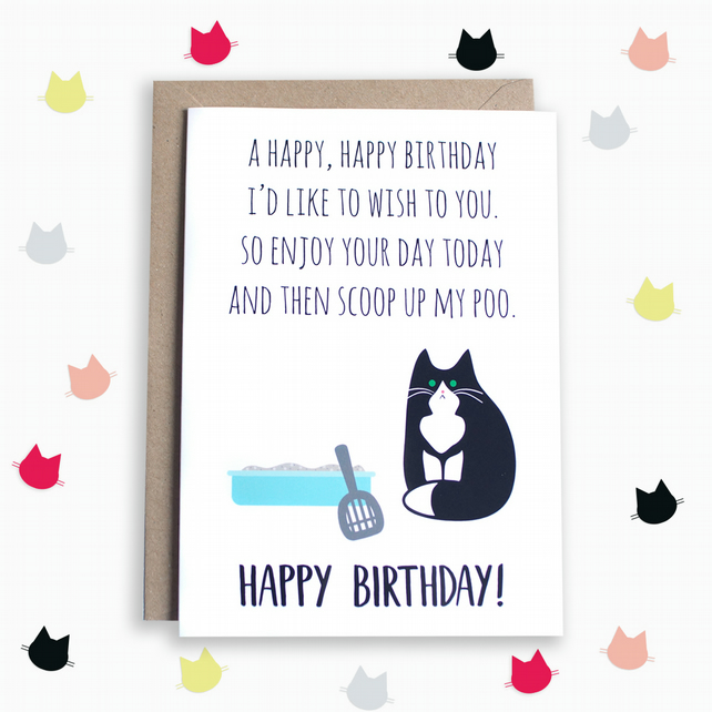 Funny Birthday Poem Card From The Cat Folksy