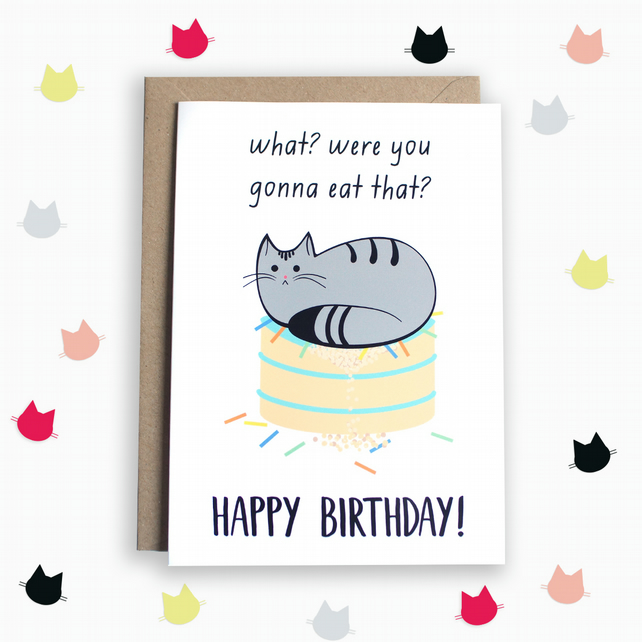 Funny Birthday Card With Cat Folksy