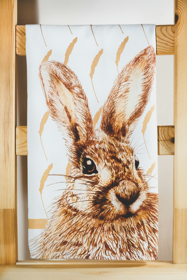 The Curious Hare Tea Towel