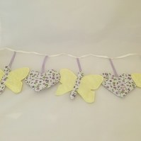 Butterfly and Hearts Bunting