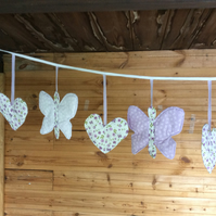 Lilac Print Butterflies and Hearts Padded Bunting