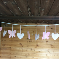 Pretty Pink Butterflies and Hearts Padded Bunting