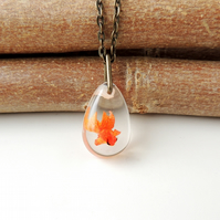 Swimming Goldfish Resin Necklace (1630)