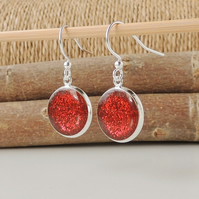 Sparkly Red Glitter Resin Drop Earrings (678)