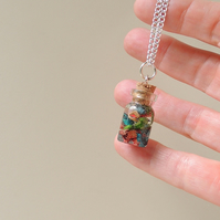 Skateboard Shavings in Resin Bottle Necklace (285)