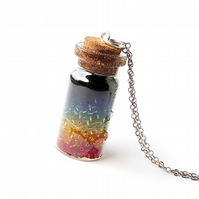 Rainbow Bottle Necklace, LGBT (272)