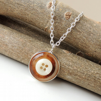 Brown and Cream Pendant - SALE (1370)