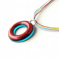 Red and Blue Resin Pendant on Rainbow Cord Necklace (010)