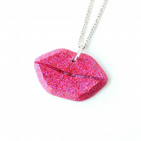 Pink Lips Necklace (738)