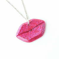 Hot Pink Lips Necklace (738)