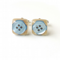 Blue Button in Cream Resin Cabochon Cufflinks (1818)