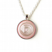 Pink and Silver Spiral Resin Cabochon Necklace (2359)