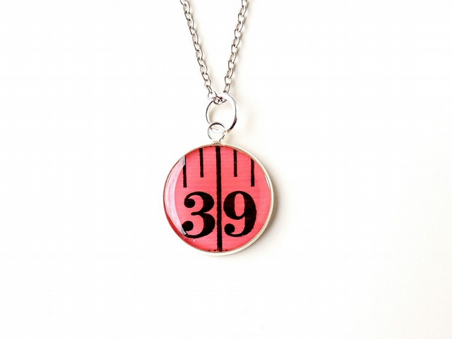 Number 39 Pink Tape Measure Resin Necklace (2127)