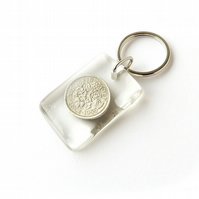 1955 Lucky Sixpence Resin Keyring (2141)