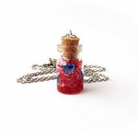 Red and Blue Hearts Bottle Necklace - SALE (281)