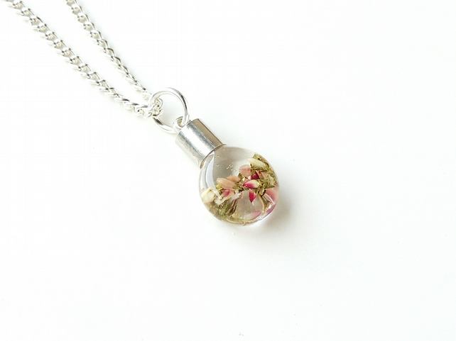Heather Flowers in Resin Vial Bottle Necklace (2217)