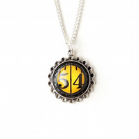 Number 54 Black & Yellow Tape Measure Resin Cabochon Necklace (347)