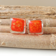 Red & Gold Resin Cabochon Cufflinks (1051)