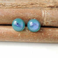 SALE: Teal Flower Resin Stud Earrings (244)