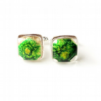 Green & Gold Resin Cabochon Cufflinks (246)