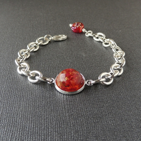 Red Rose Flowers Resin Cabochon Bracelet (242)